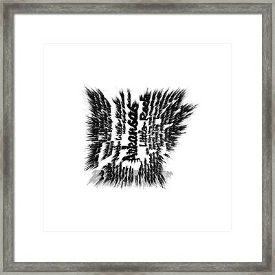 Arkansas Typographic Map Framed Print by Brian Reaves