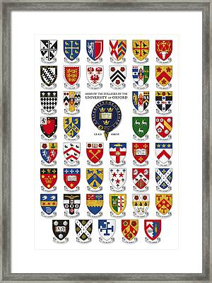 Arms Of The Colleges Of The University Of Oxford Framed Print by Scott Nourse