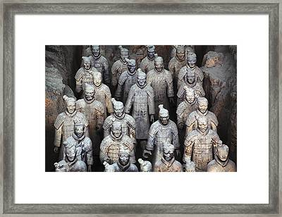 Army Of Terracotta Warriors In Xian Framed Print by Axiom Photographic