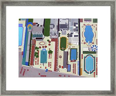 Art Deco Pools Framed Print by Toni Silber-Delerive