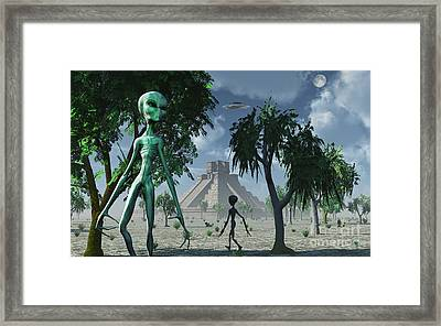Artists Concept Of Aliens Helping Framed Print