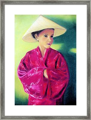 Framed Print featuring the pastel Asia As Asian by Jan Amiss