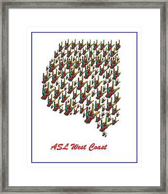 Asl West Coast Map Framed Print by Eloise Schneider