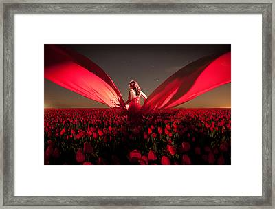 Framed Print featuring the photograph Assembling The Tulips by Dario Infini