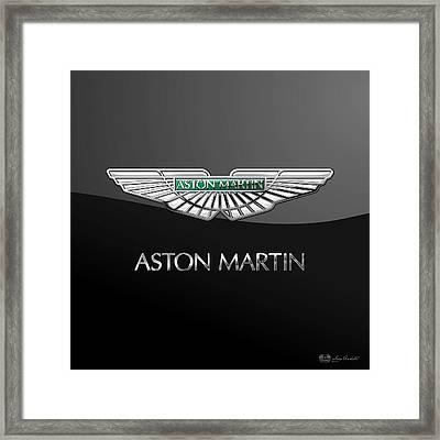 Aston Martin 3 D Badge On Black  Framed Print