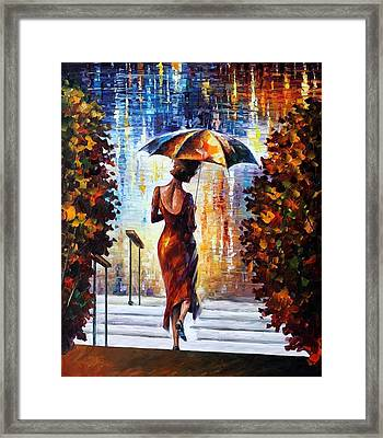 At The Steps Framed Print by Leonid Afremov