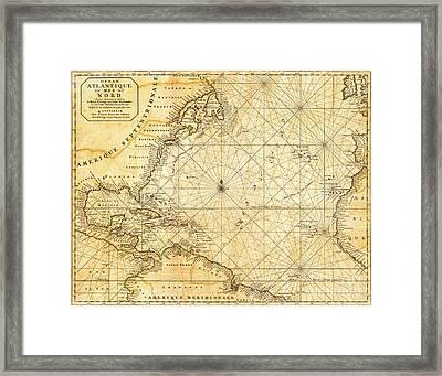 Atlantic Ocean Caribbean Sea Vintage Maritime Map Framed Print