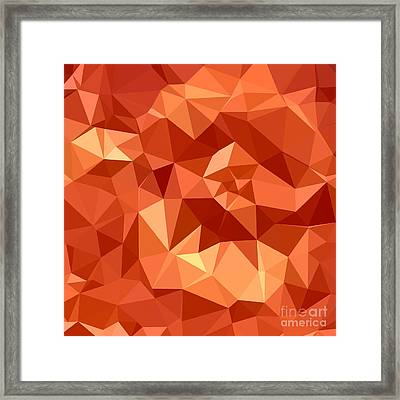 Atomic Tangerine Orange Abstract Low Polygon Background Framed Print