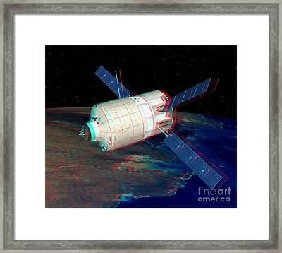 Atv In Orbit, Stereo Image Framed Print