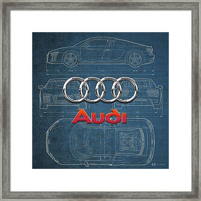 Audi 3 D Badge Over 2016 Audi R 8 Blueprint Framed Print by Serge Averbukh