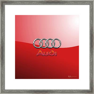 Audi - 3d Badge On Red Framed Print by Serge Averbukh