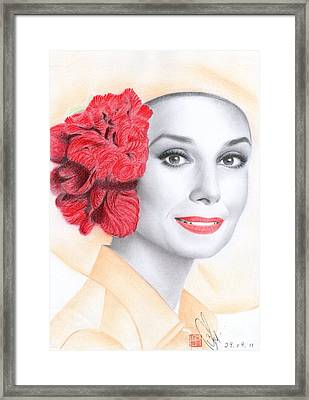 Framed Print featuring the drawing Audrey Hepburn by Eliza Lo