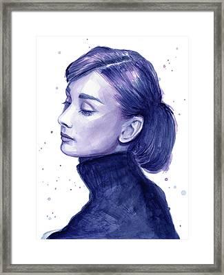 Audrey Hepburn Portrait Framed Print by Olga Shvartsur