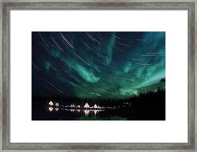 Aurora And Star Trails Framed Print by Yuichi Takasaka