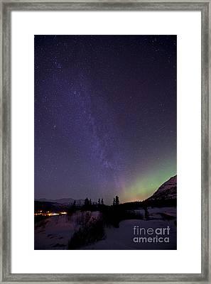 Aurora Borealis And Milky Way Framed Print by Jonathan Tucker