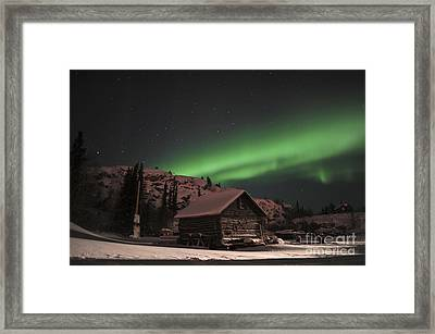 Aurora Borealis Over A Cabin, Northwest Framed Print by Jiri Hermann