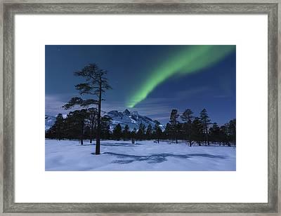 Aurora Borealis Over Nova Mountain Framed Print by Arild Heitmann