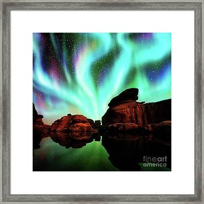 Aurora Over Lagoon Framed Print
