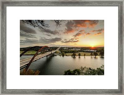 Austin Pennybacker 360 Bridge Sunset Framed Print by Preston Broadfoot