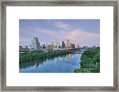 Austin Skyline At Dusk Framed Print by Tod and Cynthia Grubbs