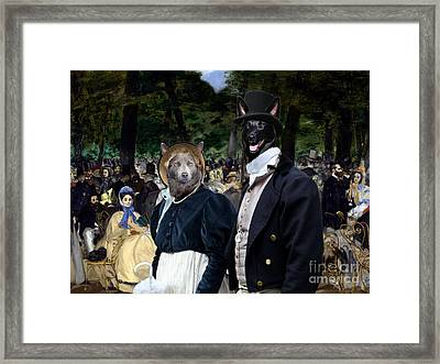 Australian Kelpie Art Canvas Print - Music In The Tuileries Gardens Framed Print by Sandra Sij