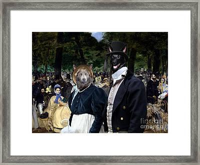 Australian Kelpie Art Canvas Print - Music In The Tuileries Gardens Framed Print
