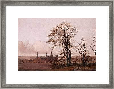 Autumn Landscape. Frederiksborg Castle In The Middle Distance Framed Print by Christen Kobke