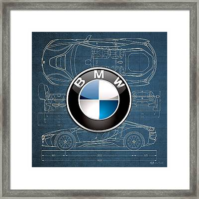 B M W 3 D Badge Over B M W I8 Blueprint  Framed Print by Serge Averbukh