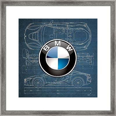 B M W 3 D Badge Over B M W I8 Blueprint  Framed Print