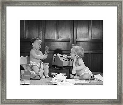 Baby Accountants, C. 1960s Framed Print by H. Armstrong Roberts/ClassicStock