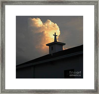 Reaching Baby Angel At The Cross Framed Print