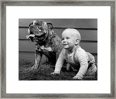 Baby With Bulldog, C.1950-60s Framed Print