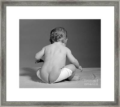 Baby With Diaper Falling Down, C.1960s Framed Print