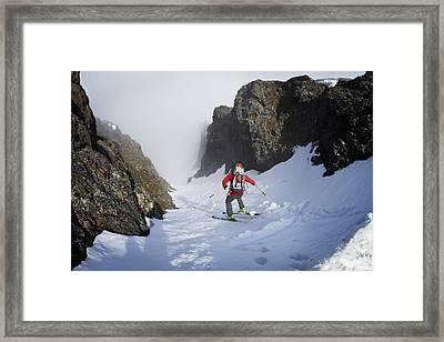 Backcountry Skier On West Twin Peak Framed Print by Joe Stock