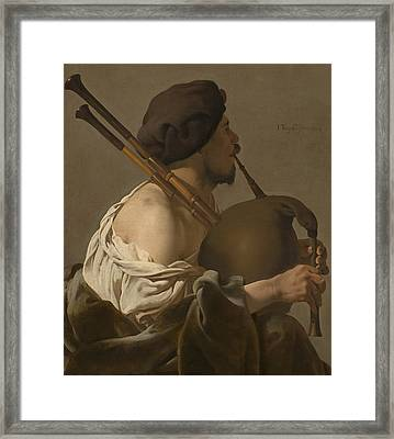 Bagpipe Player Framed Print by Hendrick Ter Brugghen