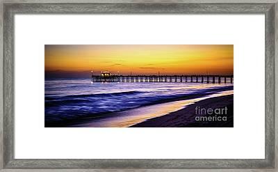 Balboa Pier At Sunset In Newport Beach California Framed Print by Paul Velgos