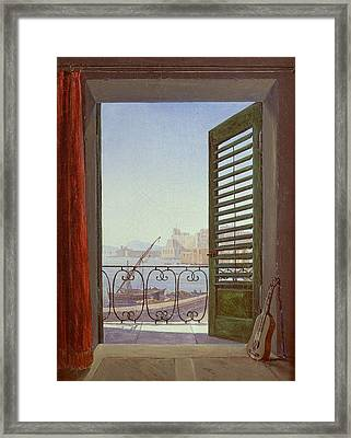 Balcony Room With A View Of The Bay Of Naples Framed Print