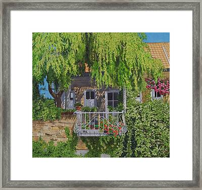 Framed Print featuring the mixed media Balcony With Flowers by Constance Drescher