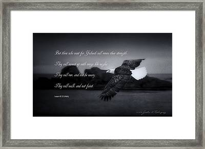 Framed Print featuring the photograph Bald Eagle In Flight With Bible Verse by John A Rodriguez