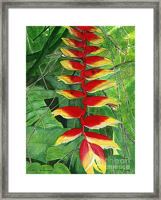 Framed Print featuring the painting Balinese Heliconia Rostrata by Melly Terpening