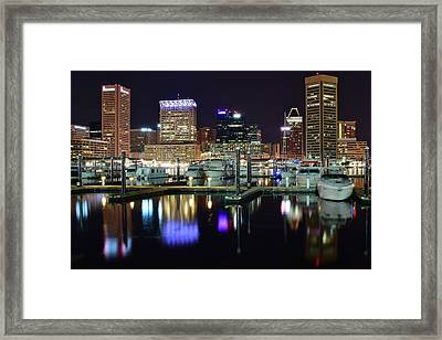 Baltimore Harbor Lights Framed Print by Frozen in Time Fine Art Photography