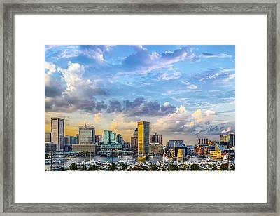 Baltimore Harbor Skyline Framed Print by Susan Candelario