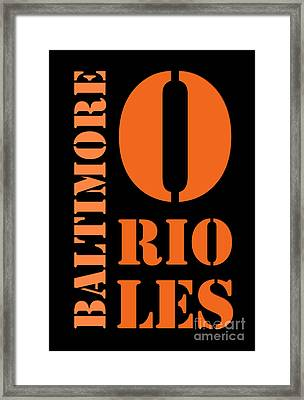 Baltimore Orioles Typography Framed Print by Pablo Franchi