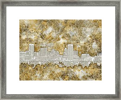 Framed Print featuring the painting Baltimore Skyline Watercolor 13 by Bekim Art