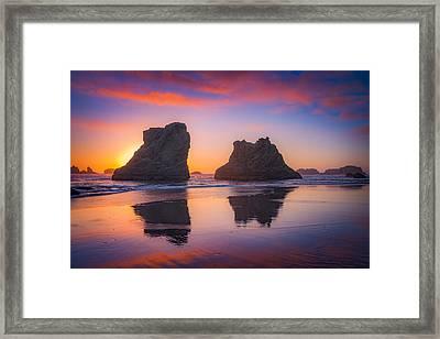 Bandon Sunset Framed Print by Darren  White