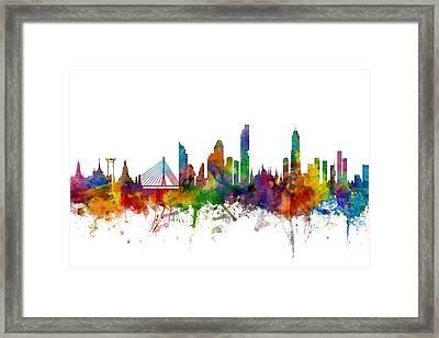 Bangkok Thailand Skyline Framed Print by Michael Tompsett