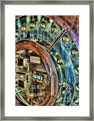Bank Vault Door Framed Print by Clare VanderVeen