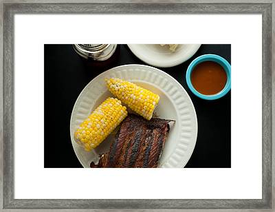 Barbecue Pork Spare Ribs With Corn And Potato Salad Framed Print by Erin Cadigan