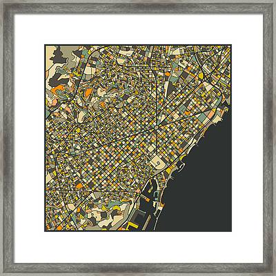 Barcelona Map Framed Print