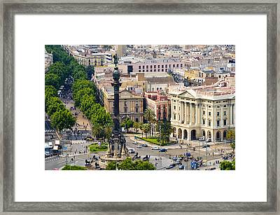 Barcelona With Tree-lined Las Ramblas Framed Print